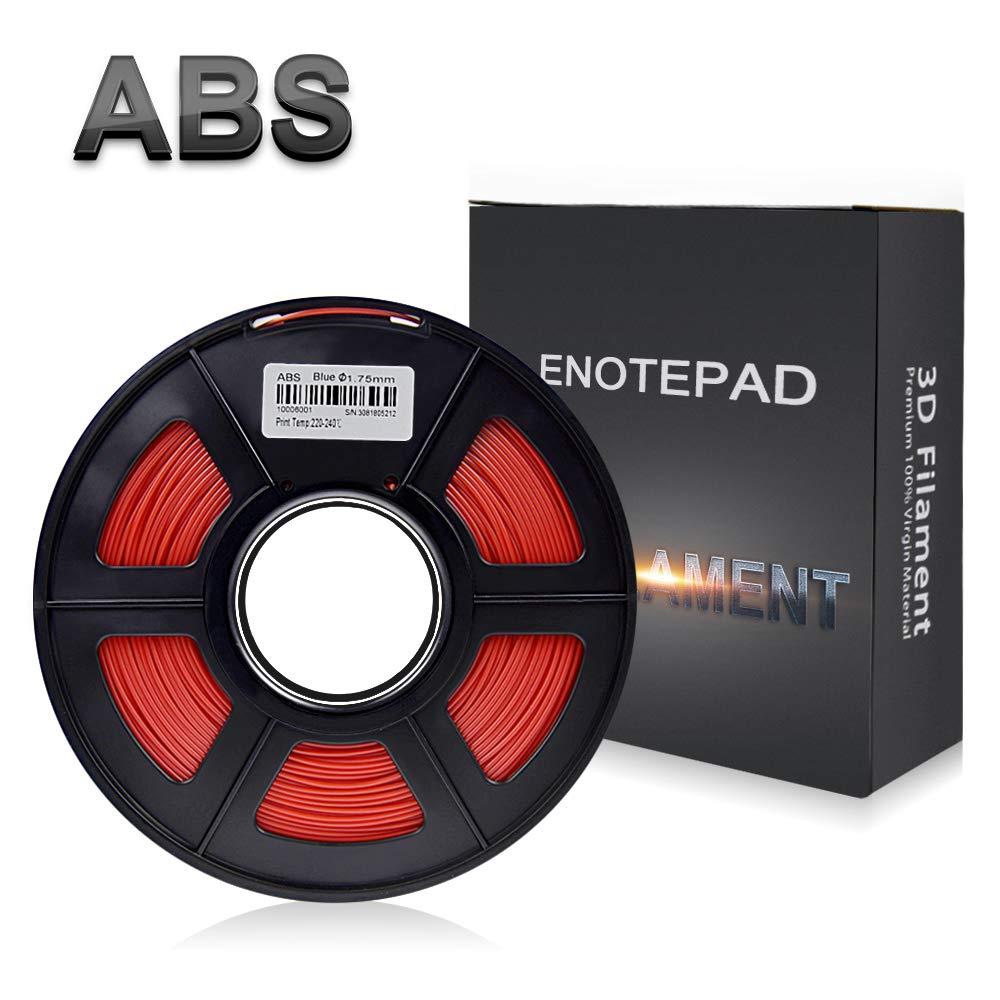Enotepad Rouge ABS 3D Filament d'impression,Filament ABS pour imprimante 3D,précision Dimensionnelle +/- 0,02 mm, 1 kg/Bobine, 1,75 mm, Filament ABS pour imprimante 3D