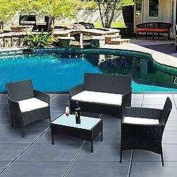 Anaelle Panana Ensemble Table en Verre + 3 Chaises en Rotin PVC Moderne -Imperméable à l'eau -Résistant aux Rayons UV pour Jardin, Balcon, Terrasse, Poids: 25kg (Noir)