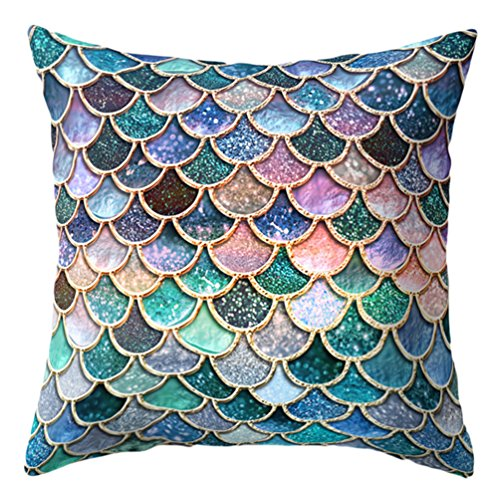 Nighteyes66 Mermaid Fish Scales Throw Pillow Case Bed Sofa Cushion Cover Living Room Home Decor