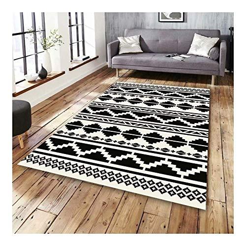 ch Schwarz und Weiß Bausteine   3D Gedruckt Teppich mit hoher Dichte Geeignet für Familie Wohnzimmer Schlafzimmer, 80 cm (H) X 160 cm (W) ()