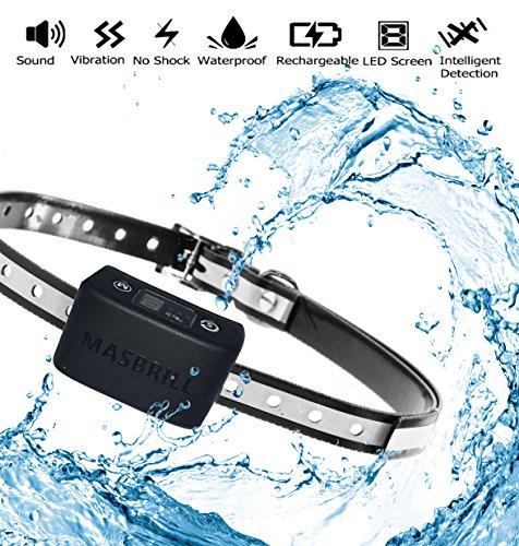 MASBRILL Anti Bell Halsband Wasserdicht Vibration Hundehalsband Einstellbar Nylon für Kleine Mittlere Hunde Wiederauflladbar (Schwarz) -