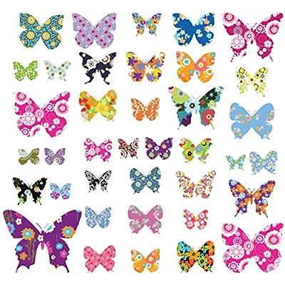 Decowall 38 Farbige Schmetterlinge Tiere Wandtattoo Wandsticker Wandaufkleber Wanddeko für Wohnzimmer Schlafzimmer Kinderzimmer(1201 8021) von DECOWALL auf TapetenShop