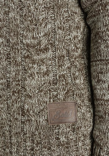 SOLID Pierre Herren Kapuzenpullover Strickhoodie aus 100% Baumwolle Meliert Coffee Bean (5973)