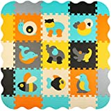 """meiqicool Children Puzzle play Mat Colourful Soft Non Toxic Jigsaw Foam Floor Tiles and toys (12""""x12""""x0. 4"""" Square, 9 pcs Play Mats with Borders)014B"""