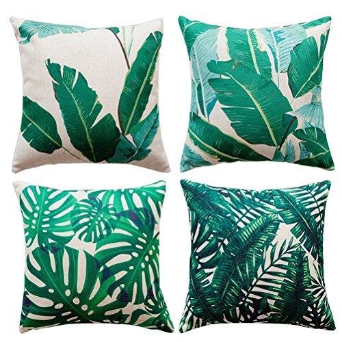 Gspirit 4 Pack Tropical Hojas Algodón Lino Throw Pillow Case Funda de Almohada para Cojín 45x45 cm