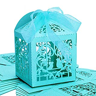 Little Snow Direct 20pcs Love Bird Luxury Boxes With Organza Ribbons Wedding Party Favour Laser Cut Sweets Cake Candy Gift Favor - Turquoise / Aqua