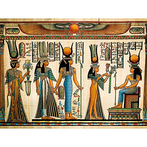 Pitaara Box Egyptian Queen Nefertari Making An Offering to Isis D2 Canvas Painting MDF Frame 21.3 X 16Inch (Queen-size-split-box)