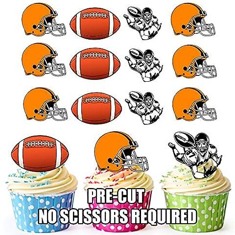 Football américain NFL pour cupcakes/gâteau Décorations (lot de 12) Orange casque