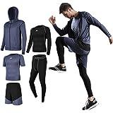Lachi Uomo 5 Pezzi Fitness Completi Palestra Sportivi Abbigliamento Giacca con Cappuccio Manica Corta Manica Lunga Camicie a