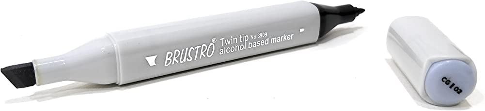 BRUSTRO Twin Tip Alcohol Based Marker Grey (Cool Grey II 2)