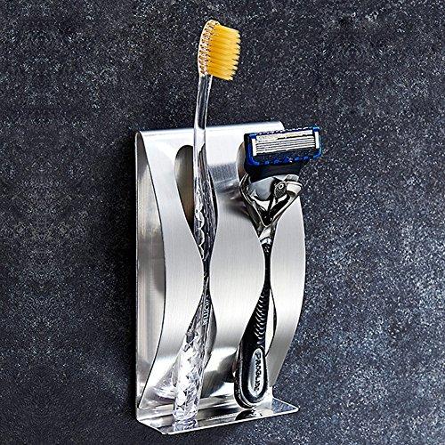 Glas-antik-zahnbürste-halter (labkiss lk019Wandhalterung ohne Bohren, selbstklebend, Zahnbürstenhalter von 3M selbstklebend, Edelstahl gebürstet, verwendbar, Heavy Duty, wasserdicht, 3Löcher, Edelstahl, Standard)