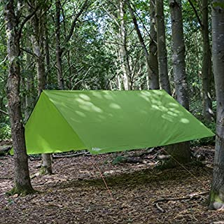 Andes 3m x 3m Tarpaulin - Waterproof, Lightweight, Compact, Strong and Ripstop Tarp for Camping, Green, Pegs & Guylines Included