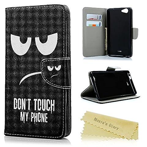 Mavis's Diary® Wiko Pulp Fab 4G peintes Étui Case Sac pochettes Argent Protection en cuir PU Scratch Fermeture Magnétique Téléphone Boîte Étui fonction support pour téléphone portable Blick