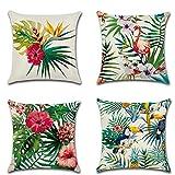 HuifengS Set di 4 federe copricuscini in lino, motivo foresta pluviale tropicale, piante, botanica, decorative per divani, letti, sedie, 45 x 45 cm