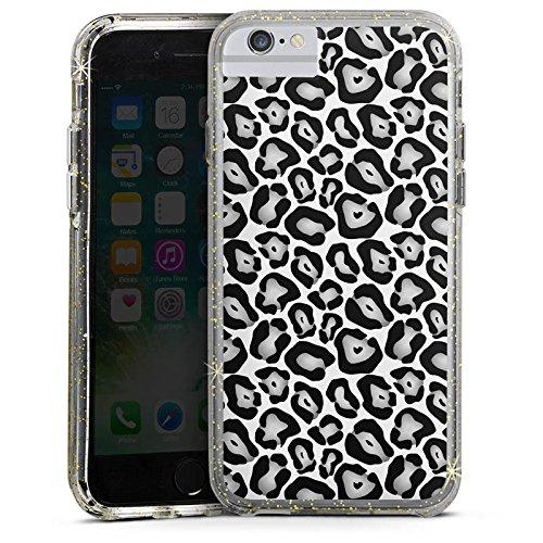 Apple iPhone X Bumper Hülle Bumper Case Glitzer Hülle Animals Tiere Graues Leo Fell Look Bumper Case Glitzer gold