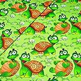 Schildkröte 100% Baumwolle Baumwollstoff Kinder Kinderstoff Meterware Handwerken Nähen Stoff Tiermotiv 100x160cm 1 Meter (Schildkröte)