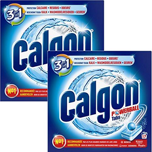 Calgon 3en1 Anticalcaire et Nettoyant pour le Lave-Linge 17 Tablettes - Lot de 2