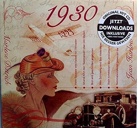 1930 des cadeaux d'anniversaire - karte1930 mesure 15 x 14 cm - Compilation de CD de musique - An Carte de vœux vide - 20 cadeau original Hit défilés chansons - pour un homme ou une femme