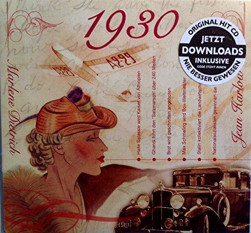 1930 Geburtstags-Geschenke - Karte1930 misst 15 x 14 cm - Kompilation Musik CD - Leere Jahr Grußkarte Geschenk - 20 Original HitParaden Songs - Für einen Mann oder eine Frau