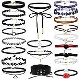 MingJun 21 PCS Multicolor Vintage Samt Choker Halskette Set Tattoo Ribbon Halsketten mit Extender Kette für Frauen Mädchen