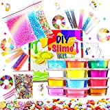 Kit de Slime Fluffy, bricolage en 12 couleurs d'argile en cristal avec 10 bouteilles de poudre scintillante pour garçons et...