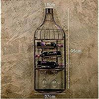 KIUJ Estante de Metal para Vino Montado en la Pared con Vidrio Organizador de Vajilla,