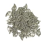 Magideal 100x Tibetan Silver Filigree Hollow Leaf Charms Pendants Jewelry DIY Making