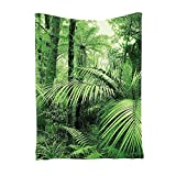 TOOGOO(R) TaTropical Rain Forest Green Tapestry , Palm Trees And Exotic Plants in Jungle with Wild Nature Zen Theme Art Decorations, Bedroom Living Room Dorm Decor for Wall Hanging(100*150cm)