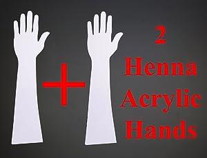 HENNA ART Reusable Washable Acrylic Hand for Mehendi Practice - Pack of 2