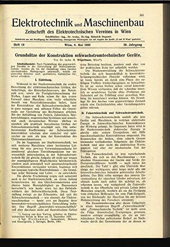 Grundsätze der Konstruktion schwachstromtechnischer Geräte, in: ELEKTRONIK UND MASCHINENBAU, Heft 19/1938 (56. Jg.). (Grundsätze Der Elektronik)