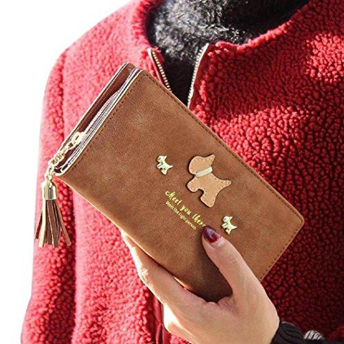 Malloom® Titolare Donna borsa portafoglio Lungo Frizione Borsa PU Portafogli Donna (caffè) caffè