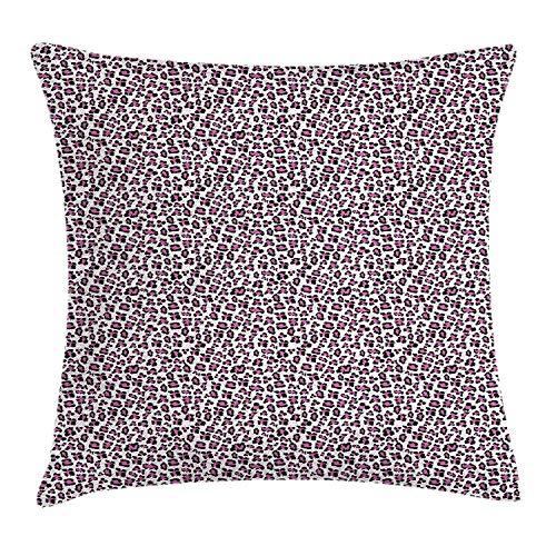 ERCGY Leopard Print Throw Pillow Cushion Cover, Pink and Black Colored Girlish Pattern Safari Savannah Wildlife Theme, Decorative Square Accent Pillow Case, 18 X 18 inches, Pink Black White -
