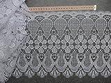 Gardinen Borte Blumen 28cm hoch in weiß Hochglanzgarn