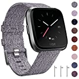 CAVN Fitbit Versa Cinturino Tessuto, Sostituzione Cinturino Fitbit Versa per le Donne Uomini Cinturino a Sgancio Rapido Orologio con Fibbia Regolabile in Metallo Inox per Fitbit Versa Smart Watch,Gray