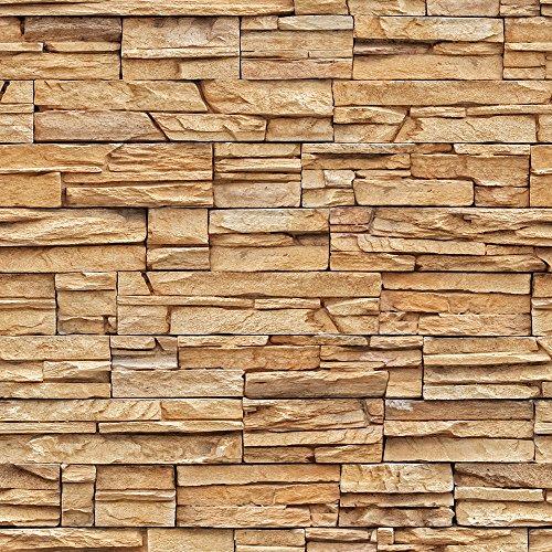 murando - Vlies Tapete - Deko Panel Fototapete - Wandtapete - Wand Deko - 10 m Tapetenrolle - Mustertapete - Wandtapete - modern design - Dekoration - Steine Steinwand Steinoptik Braun f-A-0020-j-b