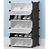 Zemic International Quality DIY Shoe Rack Organizer/Multi-Purpose Plastic 5 Shelves Portable and Folding Shoe Rack…