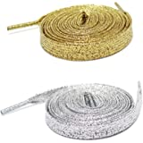 Set di 2 paia di lacci: lacci dorati piatti glitterati Premium – Lacci argentati e lacci dorati – Lunghezza 115 cm – Lacci or
