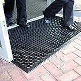 Grande tappetino d'entrata in gomma da esterni, tappetino antiscivolo drenante–3taglie disponibili, plastica, Black, 0.9m x 1.5m