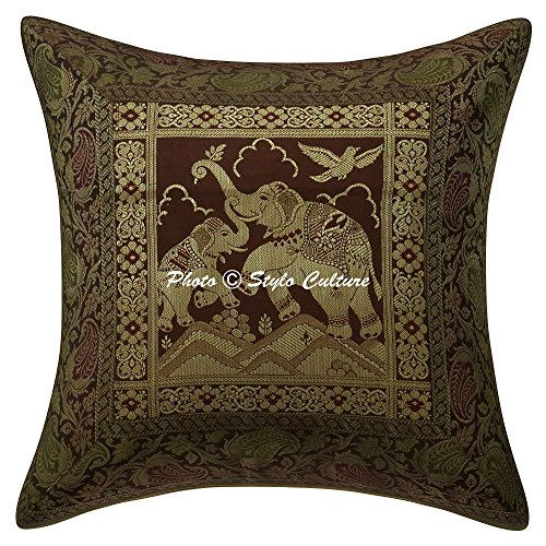 Stylo Culture Cojines Decorativos étnicos para la Cama Brown Brocade Jacquard Floral Throw Cojín Cuadrado Elefante Tradicional 40x40 cm Fundas de cojín (1 Pieza)