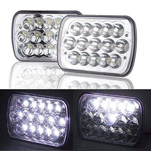 esyauto 12,7x 17,8cm 17,8x 15,2cm Zoll eckig LED-Scheinwerfer Truck Scheinwerfer Ersatz 40W High Low Beam für Jeep Wrangler YJ Cherokee XJ H6014H6052H60546054R-h6054ll H50546982260526053(Paar) (H6054 Led)