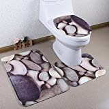 Richoose 3 Stück Toiletten-Abdeckung Set Bad WC Set Sitzbezug (Bad Teppich + Pedestal Teppich + Toilettensitzabdeckung), Cobblestone