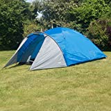 Adtrek Blue/Grey Double Skin Dome 4 Man Berth Camping Festival Family Tent