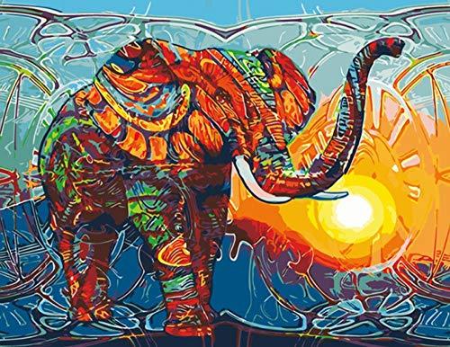 WFLJFWS DIY Ölfarbe Von Nummer Kit, Mit Pinsel Malerei Buntes Elefant-Tier-Öl-Segeltuch, Das Modernes Wand-Kunst-Bild Für Hauptwand-Grafik Malt Rahmenlos - Moderne öl-malerei