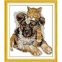 YEESAM–Kit da ricamare a punto croce, 14ct, 28x 32cm DIY Sleeping Cane e Gatto da ricamare a punto croce su tela in bianco cucito a mano regalo di natale Kit per punto croce