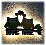 Nachtlicht Dekolicht Eulenpaar Eulen mit Namen als Geschenke für Paare Zwillinge Freund Freundin