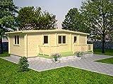 Wochenendhaus Prunus P9 inkl. Fußboden, naturbelassen - 70 mm Blockbohlenhaus, Grundfläche: 33,30 m² mit Terrasse, Satteldach