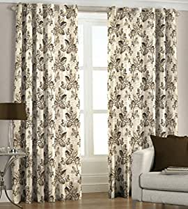 Just Linen Maroon Jute Look Polyester Jacquard Fancy Eyelet Door Curtains