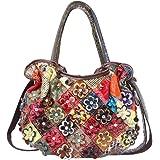 Segater® Mehrfarbig Floral Rind Leder-Umhängetasche für Damen, Vintage Rindsleder Handtasche Blumenmuster 3D Schultertaschen