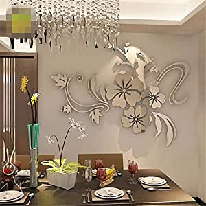 ... 3D Mirror Wall Stickers Gold Silver Acrylic Mirror Flower Wall Decals  Vinyl Stickers