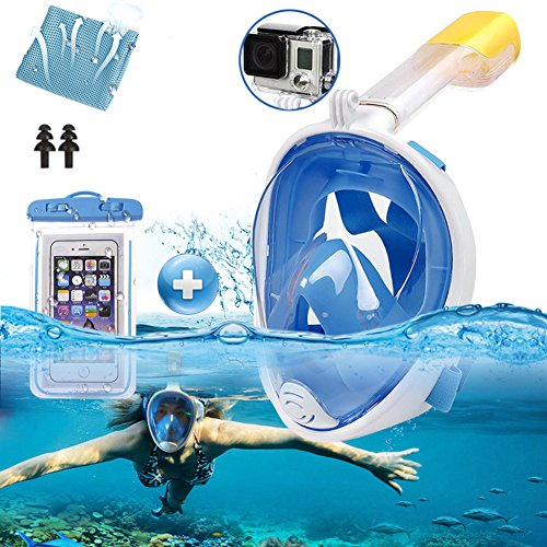 Srwmml qfht 180 ° Full Maschera e boccaglio con Gropro Mount Anti-Appannamento Anti perdite Swim Mask - Panoramic Seaview Snorkeling per Adulti, Blue, L/XL